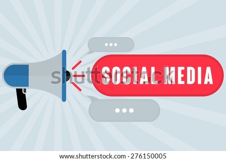 SOCIAL MEDIA word out of megaphone with grey background - stock photo