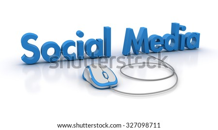 SOCIAL MEDIA Word with Computer Mouse - High Quality 3D Render