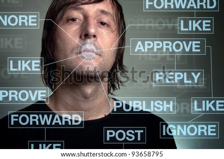 Social network addiction. Person addicted to social computer networks, technology concept with computer graphics. - stock photo