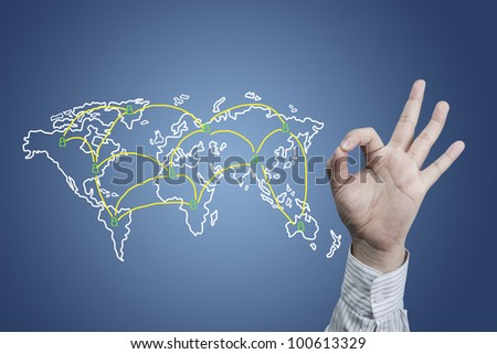 Social network and hand symbol OK - stock photo