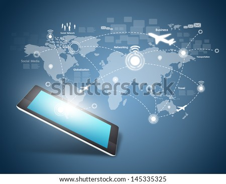 Social network and Modern communication technology - stock photo