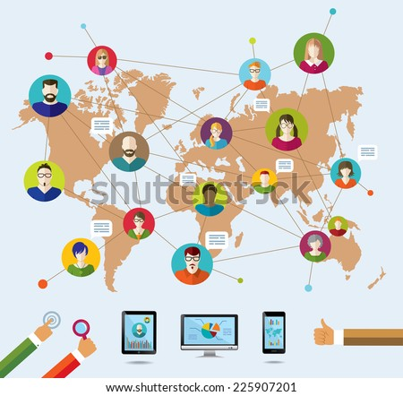 Social network and modern technology. Education. Conceptual banner. Flat icons. - stock photo