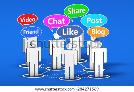 Social network and social media online web community concept with 3d people and Internet words signs on colorful speech clouds. - stock photo