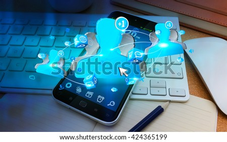 Social network blue avatar connected to each other in modern office '3D rendering'