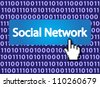 Social Network Button with Hand Cursor. Vector version also available in my portfolio. - stock photo