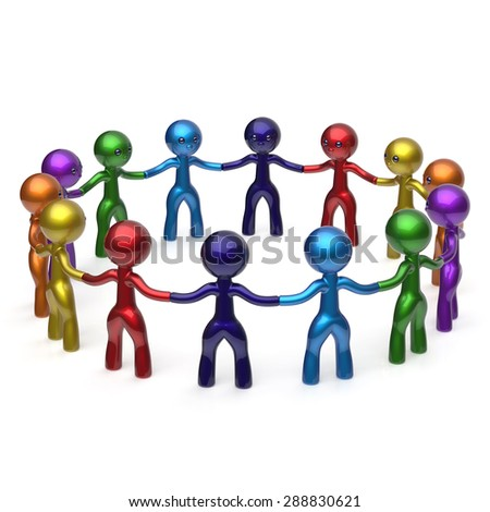 Social network characters teamwork human resources circle people individuality friendship team six different cartoon friends unity meeting icon concept colorful. 3d render isolated - stock photo