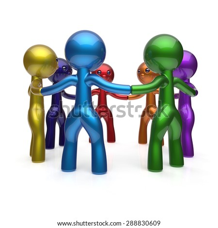 Social network circle people human resources diverse teamwork characters friendship individuality team seven different cartoon friends unity meeting icon concept colorful. 3d render isolated - stock photo