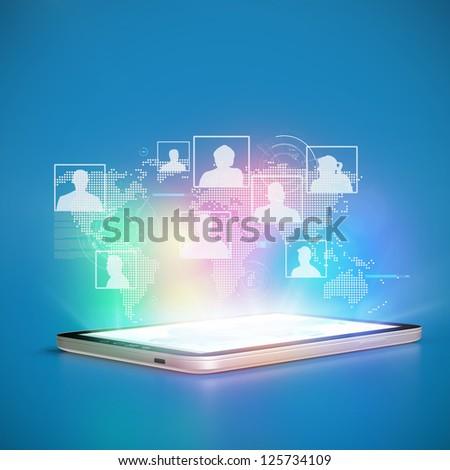 Social Network cloud Tablet PC concept 3D - stock photo