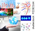 social network collage set - stock photo