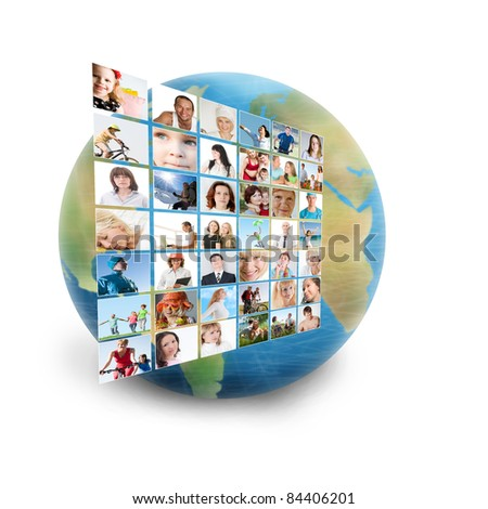 social network collage with many people - stock photo