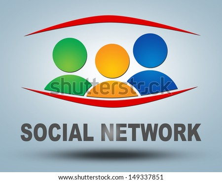 Social network - communication concept with sign and text - stock photo