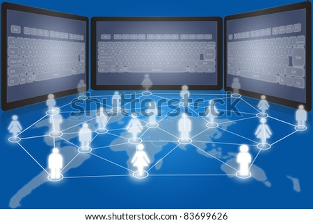 Social network communication with tablet. - stock photo