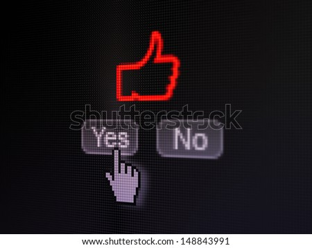 Social network concept: buttons yes and no with pixelated Like icon and Hand cursor on digital computer screen, selected focus 3d render