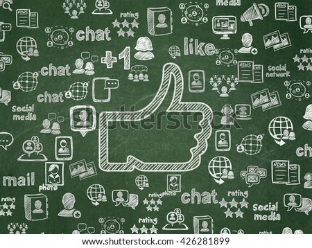 Social network concept: Chalk White Thumb Up icon on School board background with  Hand Drawn Social Network Icons, School Board - stock photo