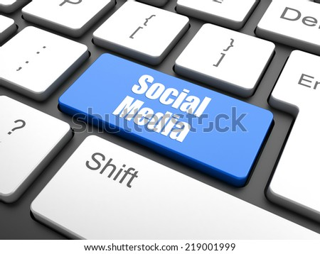 Social network concept: computer keyboard with word Social Media on enter button background, 3d render - stock photo