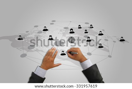 Social network concept.data communication. - stock photo