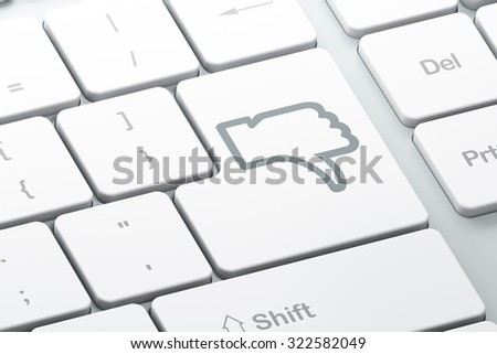 Social network concept: Enter button with Thumb Down on computer keyboard background, 3d render - stock photo