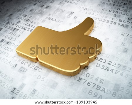 Social network concept: Golden Like on digital background, 3d render - stock photo