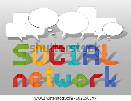 social network concept illustration with origami letters and  speech bubble - stock photo