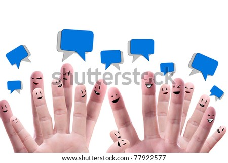 Social network concept of Happy group of finger faces  with speech bubbles - stock photo