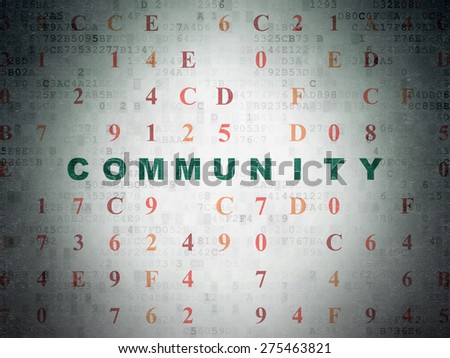 Social network concept: Painted green text Community on Digital Paper background with Hexadecimal Code, 3d render - stock photo
