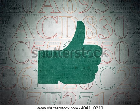 Social network concept: Painted green Thumb Up icon on Digital Paper background with  Hexadecimal Code - stock photo