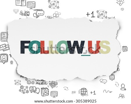 Social network concept: Painted multicolor text Follow us on Torn Paper background with Scheme Of Hand Drawn Social Network Icons, 3d render - stock photo