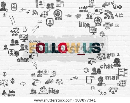 Social network concept: Painted multicolor text Follow us on White Brick wall background with Scheme Of Hand Drawn Social Network Icons - stock photo