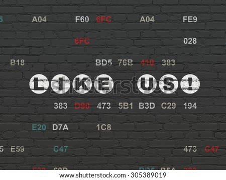 Social network concept: Painted white text Like us! on Black Brick wall background with Hexadecimal Code, 3d render - stock photo