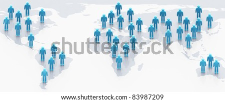 Social network concept: people over world map - stock photo
