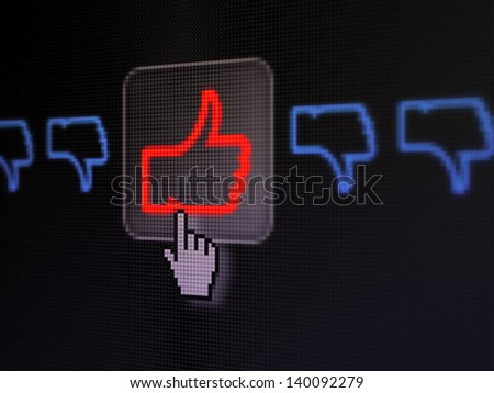 Social network concept: pixelated Like, Unlike icon on button with Hand cursor on digital computer screen, selected focus 3d render