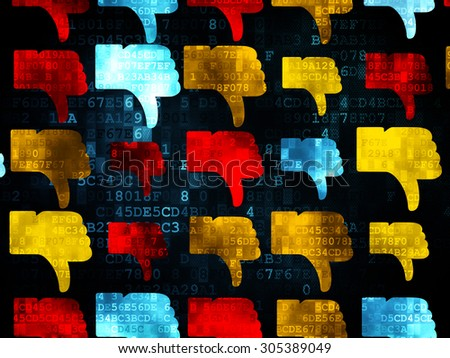 Social network concept: Pixelated multicolor Thumb Down icons on Digital background, 3d render - stock photo