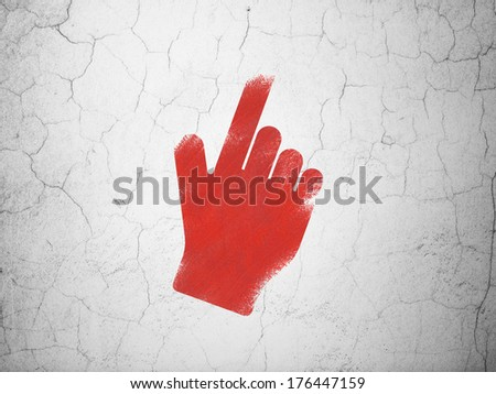 Social network concept: Red Mouse Cursor on textured concrete wall background, 3d render - stock photo