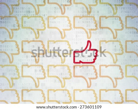 Social network concept: rows of Painted yellow thumb down icons around red thumb up icon on Digital Paper background, 3d render - stock photo