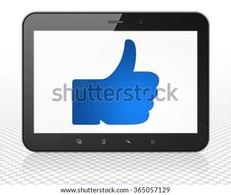 Social network concept: Tablet Pc Computer with Thumb Up on display - stock photo