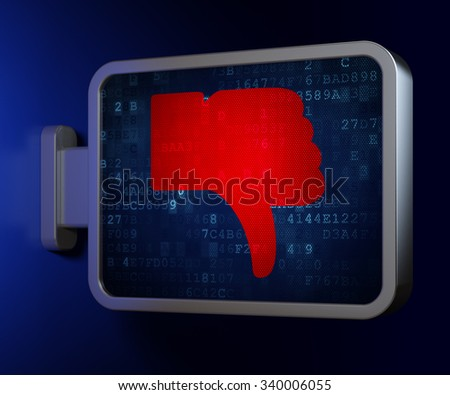 Social network concept: Thumb Down on advertising billboard background, 3d render - stock photo