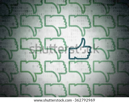Social network concept: thumb up icon on Digital Paper background - stock photo