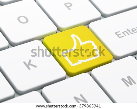 Social network concept: Thumb Up on computer keyboard background - stock photo