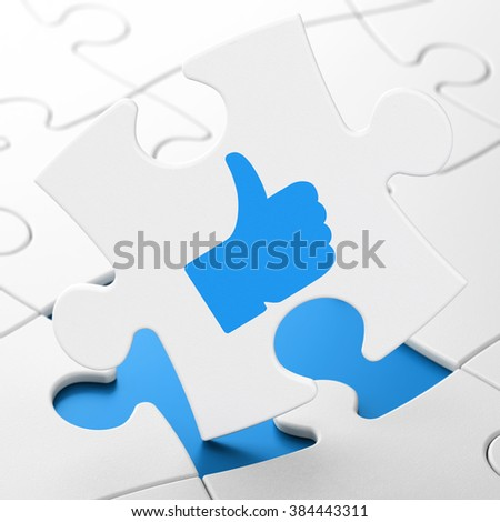 Social network concept: Thumb Up on puzzle background - stock photo