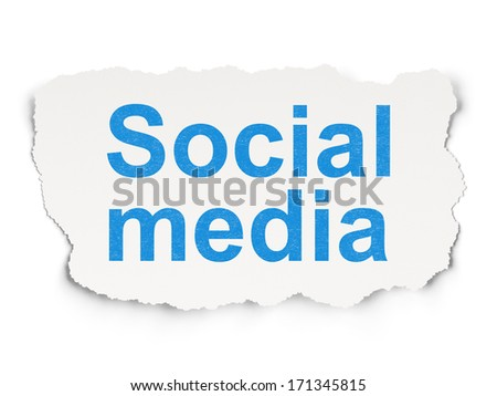 Social network concept: torn paper with words Social Media on Paper background, 3d render - stock photo