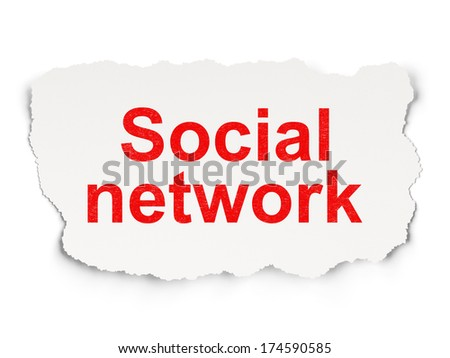 Social network concept: torn paper with words Social Network on Paper background, 3d render - stock photo