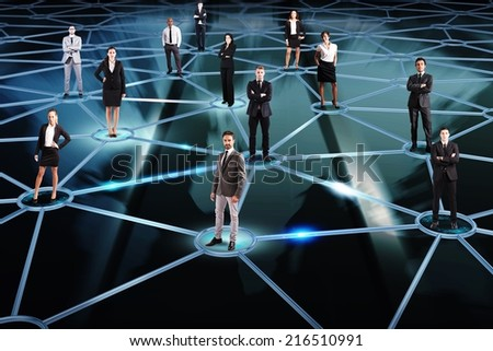 Social network concept with a group of a businesspeople - stock photo