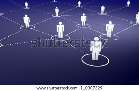 Social Network concept with a group of connected 3d men by dotted lines on dark blue background. - stock photo