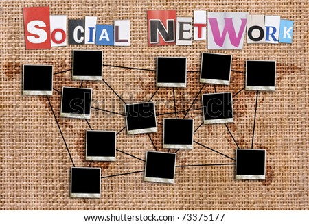 Social network concept with blank photo frames in canvas background - stock photo