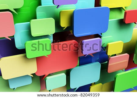 Social network concept with colorful speech bubbles - stock photo