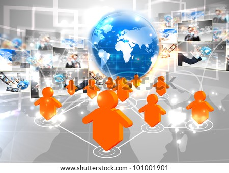 Social network connection - stock photo