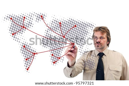Social network connections drawn by businessman - connecting the dots on map - stock photo