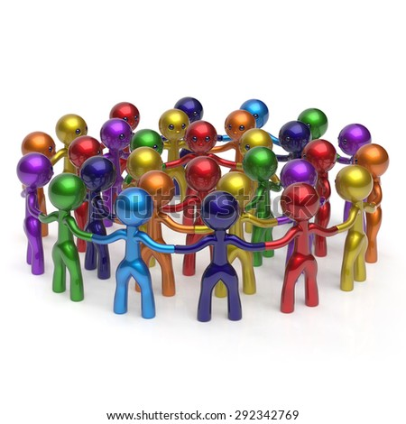 Social network crowd circle worldwide large group people teamwork characters friendship individuality team different cartoon friends corporate human unity icon concept colorful. 3d render isolated - stock photo