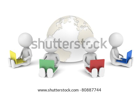 Social Network.3d little human characters X4 with Laptops - stock photo