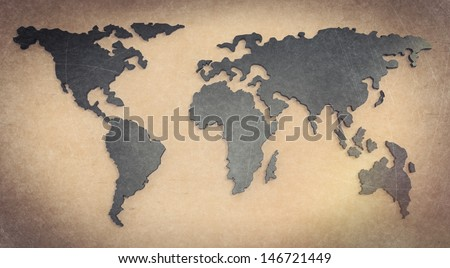 social network 3d on world map as vintage style concept - stock photo